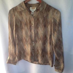 🌴3/$20 Talbots Herringbone Silk Button Down Shirt